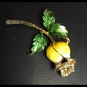 Large Vintage Enamel Bellflower Brooch